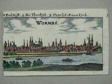 Wormbs - Kupferstich koloriert - Riegel Worms Rheinland-Pfalz Ansicht - 1686