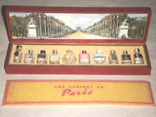 LES PARFUMS DE PARIS 10 MINIATURE PERFUME BOTTLES SET MADE IN FRANCE COFFRET