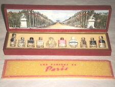 LES PARFUMS DE PARIS 10 MINIATURE PERFUME BOTTLES SET MADE IN FRANCE COFFRET