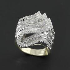 Anillos de joyería con diamantes naturales de oro amarillo baguette