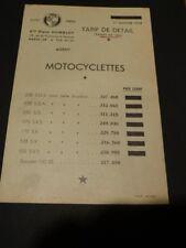 TARIF motocyclettes PUCH 125 175 SVS 250 SG 250 SGA 250 SGS 1er jan 1958