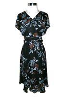 COLDWATER CREEK Plus Size 18W Dress Black Brown Grey Floral Short Sleeve