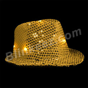 LED Flashing LightUp Sequin Fedora Hats - Several Colors To Choose! *PARTY FUN*