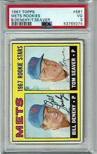 1967 Topps Baseball Tom Seaver Rookie RC #581 PSA 3 VG New York Mets HOF