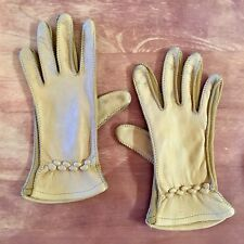 Vtg Genuine Deerskin Women's Ladies' Dress 8� Gloves 39 Tan Beige