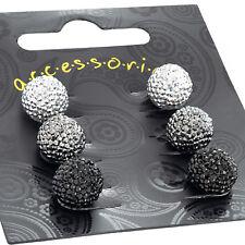 3 Pairs Round Ball Stud Earrings Silver Hematite and Black Ladies Earrings