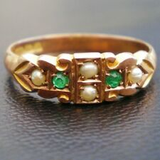 Stunning Antique Victorian 9ct Gold Emerald & Pearl Ring c1900; UK Ring Size 'Q'