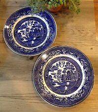 2 Antique Dinner Plates BLUE WILLOW Villeroy & Boch Made in Saan-Basin