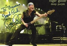 Roger Glover autographed 5x8 color photo Bass Player From Deep Purple