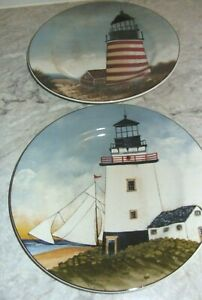 David Carter Brown Lighthouse Salad Plates By the Sea Oneida Sakura Set of 2 VGC