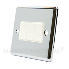Polished Mirror Chrome Classical 3 Gang Switch -10 Amp CPC3GSWIWH