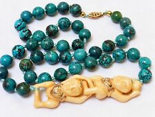 """VINTAGE CHINESE TURQUOISE 10mm BEADS NECKLACE 22"""" long 62g, 14kgf Clasp"""