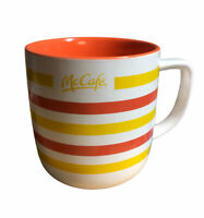 McDonald's McCafe Mug Orange White Yellow Stripe 2019 16oz