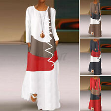 ZANZEA Womens Long Sleeve O Neck Patchwork Long Dress Casual Kaftan Maxi Dresses