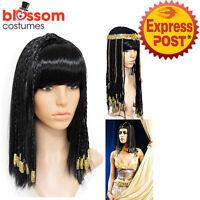 K881 Black Womens Braided Egyptian Cleopatra Goddess Costume Halloween Hair Wig