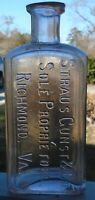Antique Embossed 6 inch Straus Gunst & Co. Sole Proprietors Richmond VA. Bottle