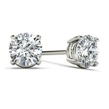 14Kt Oro Blanco 3/4 CT Diamante Natural Genuino Aretes redonda