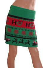 Womens Juniors REINDEER Ugly Christmas Sweater Party SANTA CLAUS SKIRT S NEW