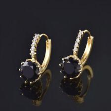 HUCHE Black Sapphire Crystal 24K Gold Filled Hoop Women Wedding Party Earrings