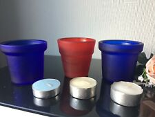 Empty Glass Candle Holders Set of 3 Votive Tealight Frosted Blue /Red Glass Cups