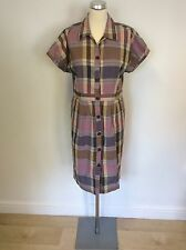 JAEGER PINKS & PURPLES CHECK COTTON BUTTON FRONT CAP  SLEEVE DRESS SIZE 12