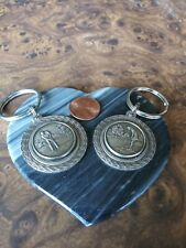 2- Vintage  Lady/Man Golf Silver Color Metal Keychain Fobs