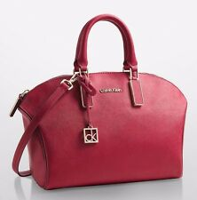 NWT Calvin Klein SCARLETT SAFFIANO LEATHER CITY DOME SATCHEL Handbag