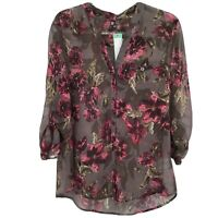 KUT From The Kloth Sinclaire Button Front Blouse Sheer Large Gray Floral NEW