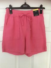 MARKS & SPENCER WOMENS PINK LINEN SHORTS, Size 6, Bnwt