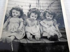 Vintage B&W Photo 3 Old Dolls Posed Outside Look Like Reliable Baby Dolls