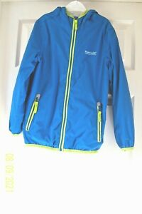 BOYS REGATTA CAGOULE 7/8 YEARS TURQUOISE WITH HOOD ZIP FRONT 2 ZIP POCKETS LINED