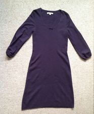 LK Bennett Wool Mix Dress Size 12  3/4 Sleeve Dark Purple