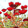 """Red Poppy Fields Printed Rayon Fabric By The Yard Panoramic Garden Floral 58"""""""