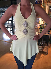 SIMPLY IRRESISTIBLE Yellow Beaded Asymetrical Hem Halter Size Small NEW w TAGS
