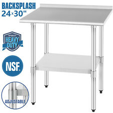 "24""x30"" Commercial Stainless Steel Kitchen Prep Work Table Backsplash Restaurant"