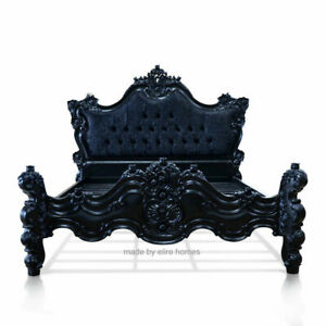 "4'6""  Double Size Gothic style bed carved fr mahogany wood Baroque Rococo style"