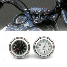 "7/8""-1"" Universal Motorcycle Black Dial Handlebar Mount Watch Clock For Harley S"