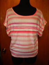 Victoria's Secret Tee Shop Pink Striped Cuffed Off Shoulder Top T Shirt M New