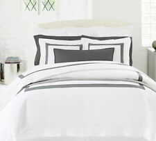 Sferra Orlo Duvet Cover White Full Queen Charcoal Grey Sateen Applique Band