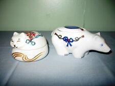 LOT OF 2 ELIZABETH ARDEN PORCELAIN TRINKET/POWDER BOXES-POLAR BEAR & CAT-JAPAN!