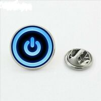 Power Button Icon On Off Lapel Pins Round Brooch Pins Fashion Stainless Steel