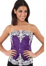 Women's Victorian Lace Corset PURPLE Size 8 10 12 14