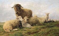 """Beautiful Oil painting warm family sheep together in landscape canvas 24""""x36"""""""