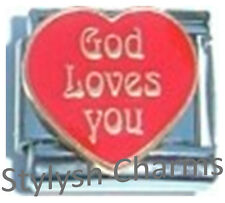 GOD LOVES YOU RELIGIOUS RELIGION Enamel Italian Charm 9mm - 1x RE090 Single Link