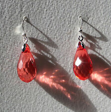 FACETED RED ACRYLIC CRYSTAL BRIOLETTE TEARDROP SILVER PLATED DROP EARRINGS