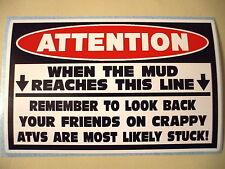 FUNNY WARNING OFFROAD MUD BOG LIFT TRUCK ATV QUAD BUMPER STICKER DECAL ML LB 626