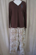 Charter Club Pajamas Sz L Brown Multi Natural Animal Print 2 Piece Sleepwear