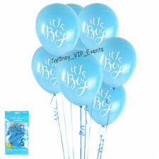 ITS A BOY BABY SHOWER BLUE WHITE BALLOONS 6PK PARTY LATEX HELIUM GENDER REVEAL