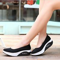 Women's Athletic Casual Slip-On Platform Mesh Shoes Sneaker Walking Shoe