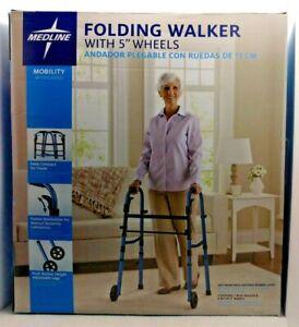 """Medline Folding Walker w/ 5"""" Wheels: New In Box! Blue, Folds Compact, Adjustable"""